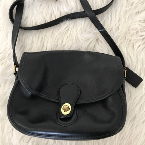 variousstyles new lower prices best deals on Vintage Coach Black Leather Crossbody Saddle Bag